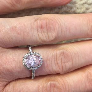 Pink stone & CZ Halo ring - .925
